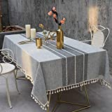 Joy Fabric Cotton Washable Tablecloth with Tassel Wrinkle Free Outdoor & Indoor Dining Table Cover (Grey, 55 x 87 Inch)