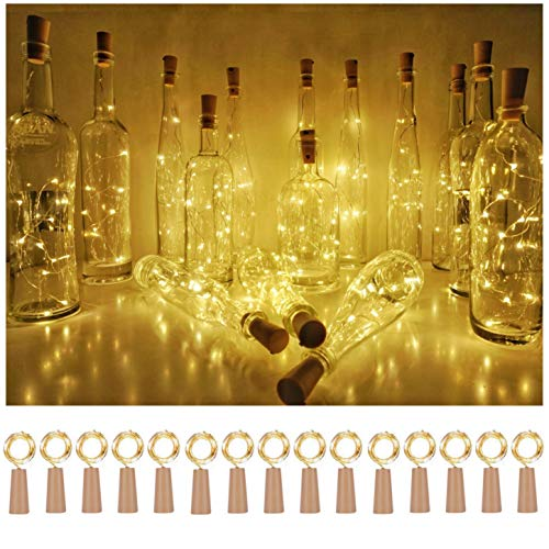 Wine Bottle Cork Lights 15Pack 10 LED/ 40 Inches Battery Operated Cork Shape Copper Wire Colorful Fairy Mini String Lights for Party Christmas Halloween Wedding Decoration (Warm White)
