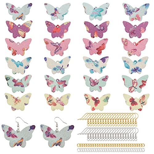 PandaHall Kit de fabricación de pendientes, 6 estilos, colgantes de mariposa con 40 ganchos de...