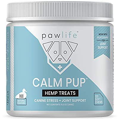 pawlife Calming Treats for Dogs - Hemp Oil Infused Soft Chews for Dog Anxiety Support- 120 Dog Calming Treats