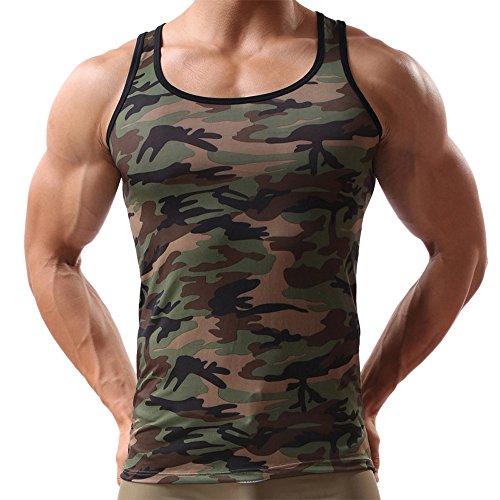 Yowablo Tank Top Herren Quick Dry Sport Sleeveless Camouflage Weste Sportswear für Bodybuilding Gym Athletic Training Tank (M,Tarnen)
