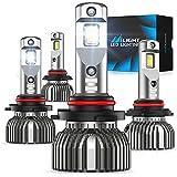 Nilight 9005/HB3 High Beam and 9006/HB4 Low Beam,70w 14000lm 9005 9006 LED Headlight Bulbs 6500k 9005 9006 LED Bulb Cool White IP67