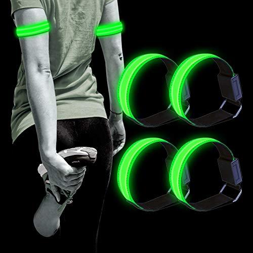Dusor LED Leuchtband Jogger, Leuchtarmband Reflektorband 4er-Pack Laufen Reflektor, Laufen Licht für Handgelenk, Arm, Knöchel, Bein, Lauflicht LED Reflektoren Joggen Sicherheitslicht Kinder