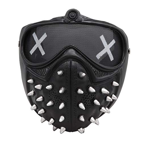 Wrench Ghost Mask Marcus LED Emoji Changeable Holloway Cosplay Watch Dogs Legion Prop Resin (Black)