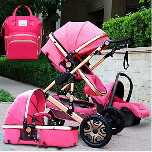 Cochecito de bebé Portátil y liviano Sistema de viaje de carro de bebé, 3 en 1 cochecito de lujo plegable para bebé con bolsa de bebé, colchón frente al padre con ángulo de altura de asiento ajustable