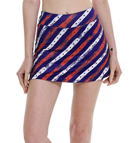 Women's Workout Active Skorts Sports Tennis Golf Skirt Built-in Shorts Casual Print USA2 L