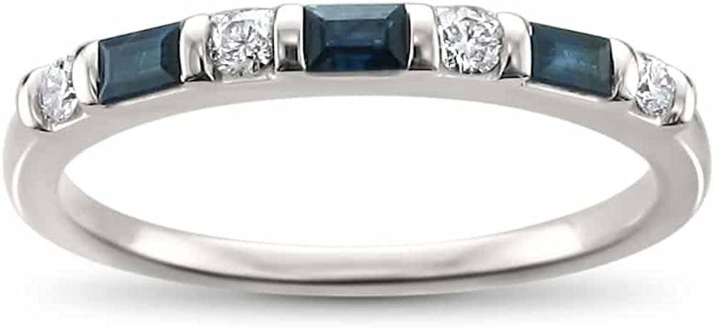 1/3 Carat Diamond,Channel-Set 14K White Gold Bridal Wedding Band Ring (H-I, SI1-SI2) by La4ve Diamonds|Real Diamond Jewelry For Women|Gift Box Included (Round Diamond,Baguette, Blue Sapphire Baguette)