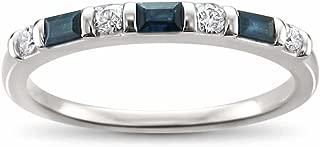 14k White Gold Round Diamond & Baguette Blue Sapphire Bridal Wedding Band Ring (1/3 cttw, H-I, I2-I3)