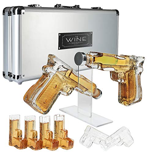 Pistol Whiskey Gun Decanter & Shot Glasses Set, 2 Gun Pistol with Pouring Spouts & 6 Pistol Revolver Shot Glasses, Comes with A large Carrying Case -, Drinking Party Accessories, Great Gift!