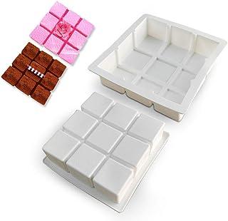 2pcs Moule En Silicone Carré, Moule Antiadhésif à 9 Cavités For Savon, Gateaux, Pain, Cupcake, Gateau Au Fromage, Pain De ...