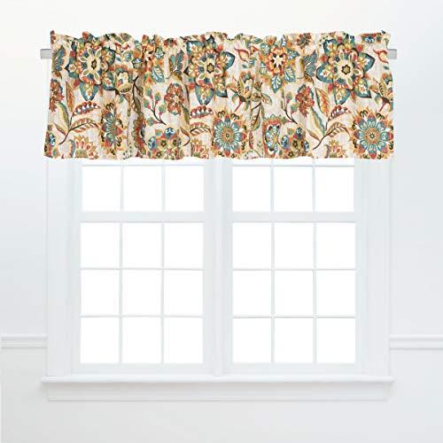"C&F Home Fiona Jacobean Cotton Window Treatment Curtain Valance Floral Flowers Vintage Boho Bohemian Modern Colorful Fall Autumn 72"" x 15.5"" Cream Cocoa Sage Teal Valance Tan"