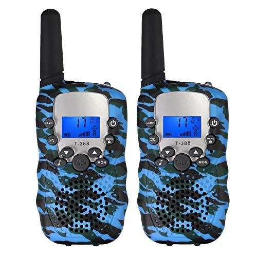 eSynic 2pz Walkie Talkie Bambini T-388 8 Canali VOX da 3 KM Display LCD Torcia 2 Way Radio Risparmio Batteria Regalo di Compleanno Giocattoli per Bambini Escursione Mimetico Blu