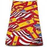 tyui7 Toallas de Mano Bandera de España con Bandera de América Toallas de Secado rápido Altamente absorbentes para Toallas de Mano Hand Gym Gym y SPA 30x70 cm