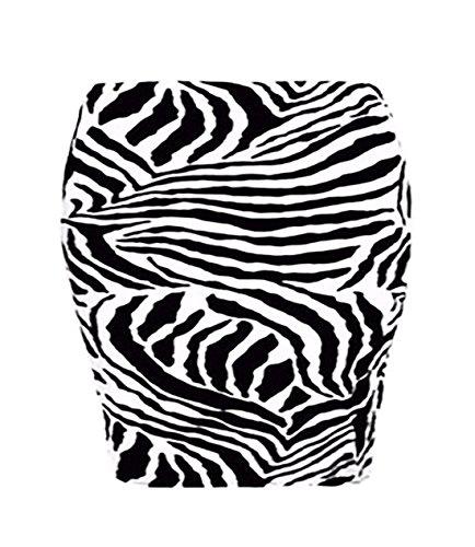 Islander Fashions Damen Stretchy Jersey Printed Minirock Frauen Elasticated Taille Short Bodycon Zebra Print XXX gro�