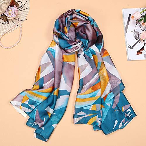 MYTJG Lady sjaal herfst en winter dames sjaal mode dames zijden sjaal bedrukken zachte sjaal munt dames lange hoofddoek