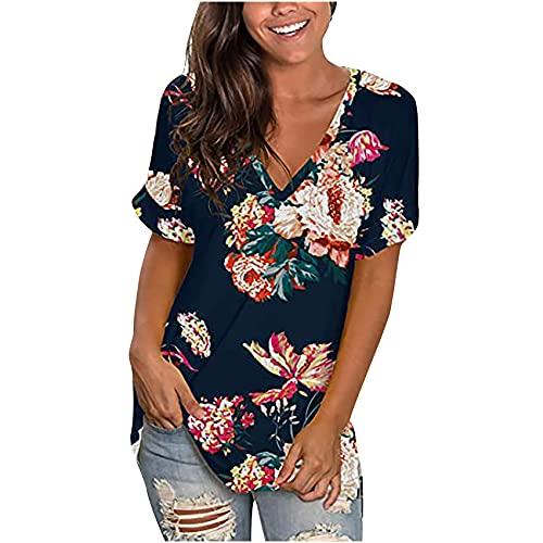 Summer New Amazon Hot Product V-Ausschnitt Bedrucktes Kurzarm-Oberteil Loses Damen T-Shirt