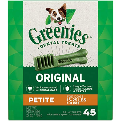 GREENIES Original Petite Natural Dog Dental Care Chews Oral Health Dog Treats, 27 oz. Pack (45 Treats)