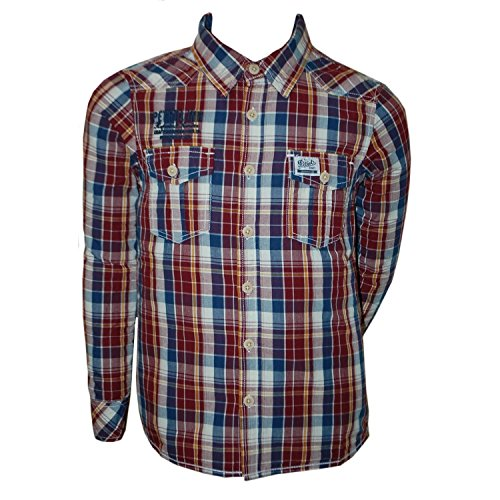 Petrol Industries - Jungen Langarmhemd Hemd, rot-blau, Größe 176