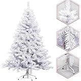 Hengda® 180CM Trendy artificiale Albero di Natale BIANCO Abete Albero artificiale abete con base in metallo