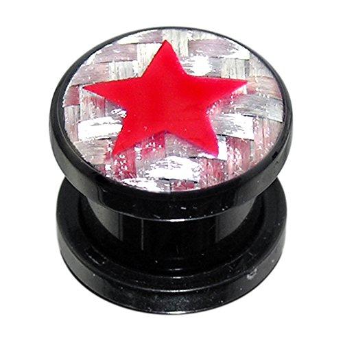 AtoZ Piercing 00 Gauge (10MM) Black Acrylic Red Star on Celtic Background Flesh Tunnel Gauge Earring Jewelry
