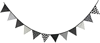 10.5 Feet Triangle Flag Banner Bunting Pennant for Kids Teepee Tent,Party and Room Decoration,12 Pcs Double Sided Cotton Fabric Flag by Steegic (Black and White)