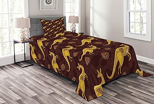 ABAKUHAUS Australien Tagesdecke Set, Gepunkteten Muster Kangaroos, Set mit Kissenbezügen Waschbar, 170 x 220 cm, Dunkelgelb & Maroon