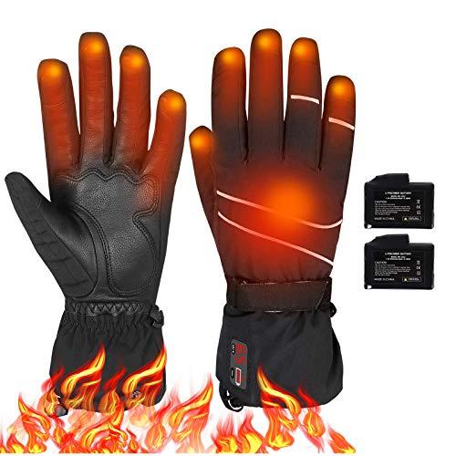 Elektrische Beheizbare Handschuh Wiederaufladbar 7.4V 2200mAh Batterie, Winterhandschuhe mit Temp Power LCD Digitalanzeige, Einstellbare Temp 40-65 ℃, Wasserdicht Warm Handschuhe für Motorrad Jagen