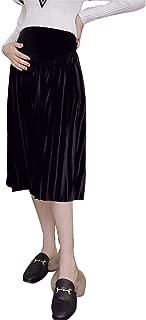 Setaria Viridis Casual Maternity Skirts High Waisted Velvet Women's Knee Length Pleated Pregnancy Dress