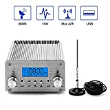 FM Broadcast Transmitter, Elikliv 15W LCD PLL Wireless Radio Stereo Broadcast Range 87~108MHz FM Transmitter for Church,Car Theater,Radio Station,Supermarket