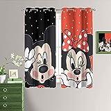 Cortinas opacas para oscurecimiento de habitación, cortinas de Mickey y Minnie con aislamiento térmico con ojales para oscurecer la habitación, paneles/cortinas para dormitorio de 52 x 84 pulgadas