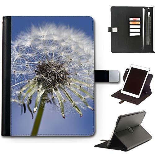 Dandelion Flower iPad Case For Apple iPad 8 (2020) (8th Gen) 10.2 inch, 360 Swivel Leather Side Flip Wallet Folio Cover with Stand Feature, Card Slots, Paper Slot, Pen Holder