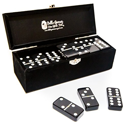 Garment District Double Six Black Professional Jumbo Size Tournament Dominoes Set with Spinners