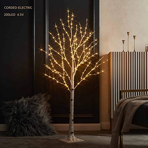 LITBLOOM Lighted Birch Twig Tree with Fairy Lights 4FT 200LED Warm White for Indoor Outdoor Home Decoration