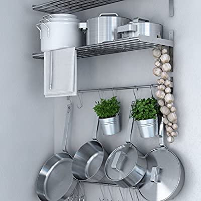 Ikea Grundtal Stainless Steel Wall Shelf , Rail and 15 Large Hooks Set , Kitchen Storage and Organizer Set by