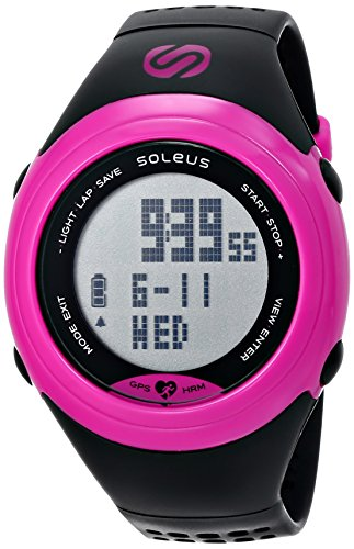 Soleus Women's SG007-011 GPS SOLE Pink Stainless Steel Watch with Black Polyurethane Band