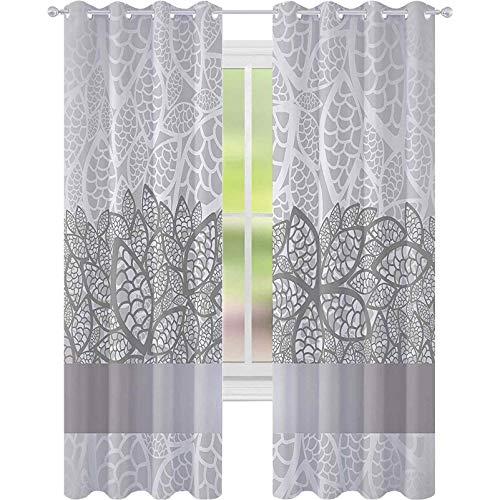 Cortinas opacas – aislamiento de juntas, diseño de flores inspiradas en encaje, composición nupcial, hojas estilizadas, tema de boda, 52 x 72, cortinas para sala de estar, gris, gris pálido, blanco