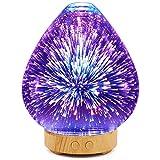 Diffusore di Aromi YWXR Ultrasuoni 100ml Diffusore Oli Essenziali Vetro 3D 7 Colori LED Grano di legno Vaso Umidificatore Senza Acqua Arresto automatico