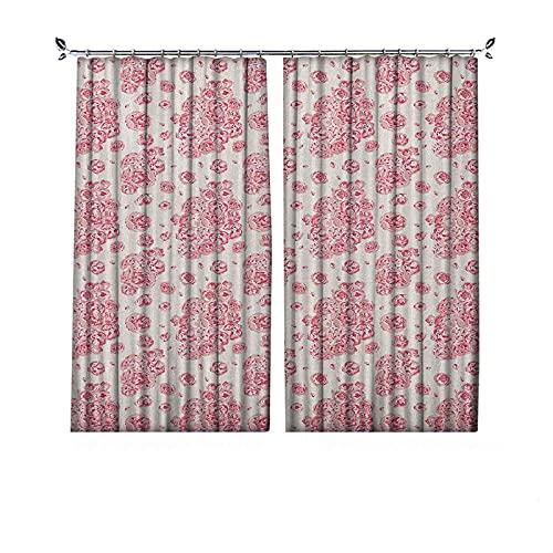 Cortinas plisadas con aislamiento térmico de coral, peonías inglesas rosas victorianas ramillete flores florecientes, para travesaños y rieles, 52 x 72 pulgadas, color rosa pálido coral oscuro blanco