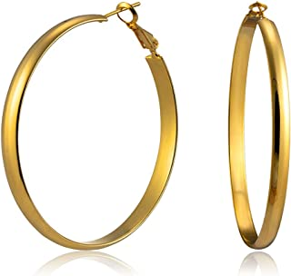 WOWSHOW 5mm Thick Flat Edge Gold Hoop Earrings for Women Girls 30mm-70mm