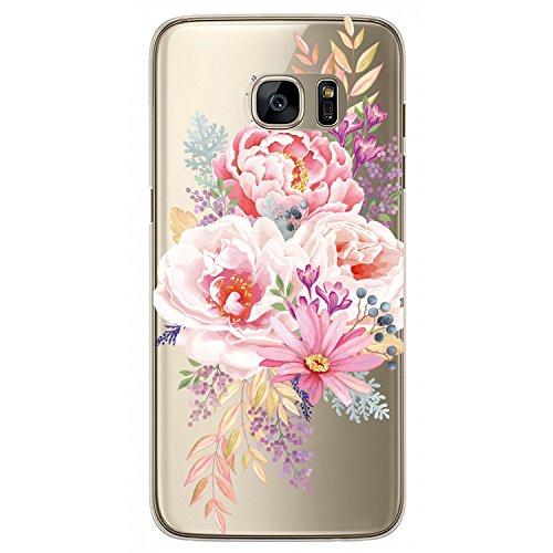 RXKEJI Samsung Galaxy S7 Hülle, Handyhülle TPU Silikon Weiche Clear Ultra Dünn Schlank Durchsichtige Schutzhülle Transparent Flexibel Case Handy Hülle für Samsung Galaxy S7 - Pink Peony