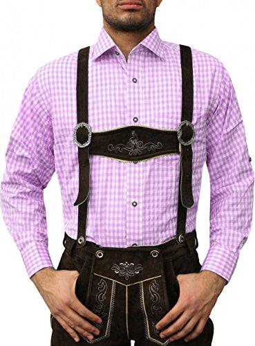 German Wear Trachtenhemd Trachtenmode aus Baumwolle für Trachten Lederhose ROSA, Hemdgröße:XL