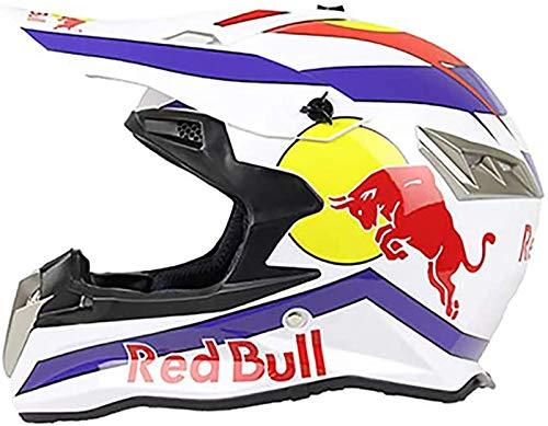 HZIH Cascos De Motocross,Cascos modulares CertificacióN Dot/ECE Locomotora Masculina Carrera De MontañA Ciclismo Cuesta Abajo Casco Integral Gafas Red Bull B,L=(59~60CM)\