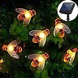 [50 LED] Luces solares para jardín Luces de cuerda de hadas de abeja de miel 7M / 24Ft 8 Modo Impermeable Iluminación de jardín exterior/interior para valla de flores Césped Patio(blanco cálido)