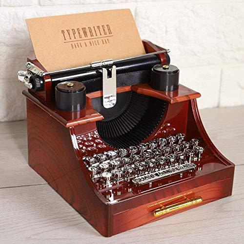 YYQLLXH Estilo retro de máquina de escribir vintage, caja de música mecánica, joyero de regalo, caja de música clásica con cajones, regalos de cumpleaños para damas