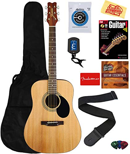 Jasmine S35 Acoustic Guitar - Natural Bundle with Gig Bag, Strings, Tuner, Strap, Picks, Instructional Book, DVD, and Austin Bazaar Polishing Cloth