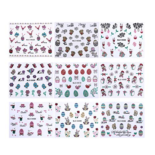 Beaupretty Nail Art Stickers Glitter Easter Rabbit Stickers 3d Nail Decals Self-Adhesive DIY Nail Stickers for Children Girls 9pcs (Random Pattern)