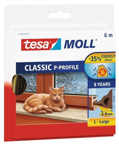 tesamoll P-list tätningslist - Dörrlist & Fönsterlist för tätning av 2-5 mm stora springor mellan karm och fönster eller dörr - Brun - 6 m x 9 mm x 5,5 mm