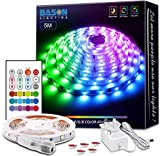 LED Strips Lights 5m, Bason 4096 DIY Colour Changing Led Light Strip with Remote 24 Key, RGB SMD 5050 Strips Kit with Timing Off for Bedroom Home Christmas Halloween Decorations
