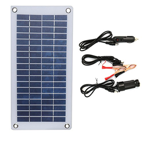 NUZAMAS 12V 8.5W Portable Solar Panel Semi-Flexible with Alligator Clips and USB Output for Car Battery Phone Charging Maintenance Outdoor Camping Fishing Boat RV