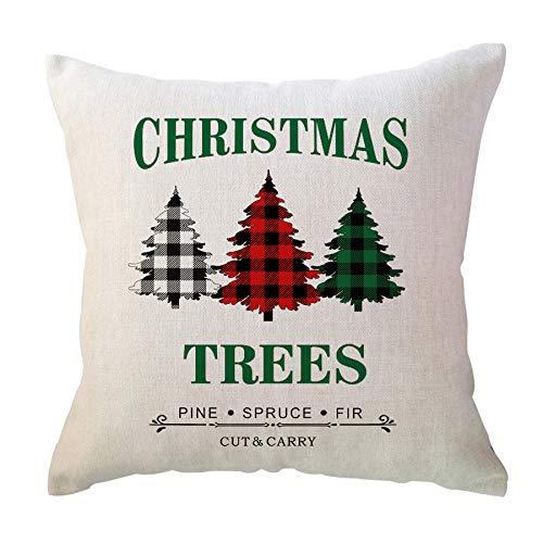 ULOVE LOVE Love Yourself Farmhouse - Fundas de almohada de 50 x 50 cm, color rojo, negro, verde, árboles de Navidad, cuadros de búfalo, vacaciones de invierno, cojines decorativos para sofá o sofá